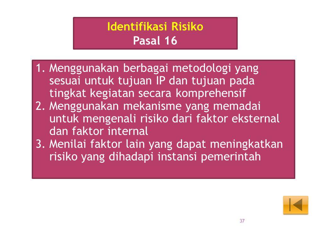 Identifikasi Risiko Pasal 16. Menggunakan berbagai metodologi yang sesuai untuk tujuan IP dan tujuan pada tingkat kegiatan secara komprehensif.