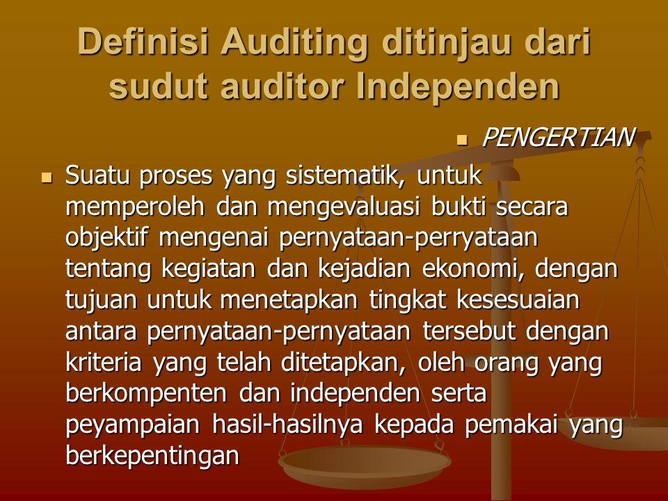 Definisi Auditing ditinjau dari sudut auditor Independen
