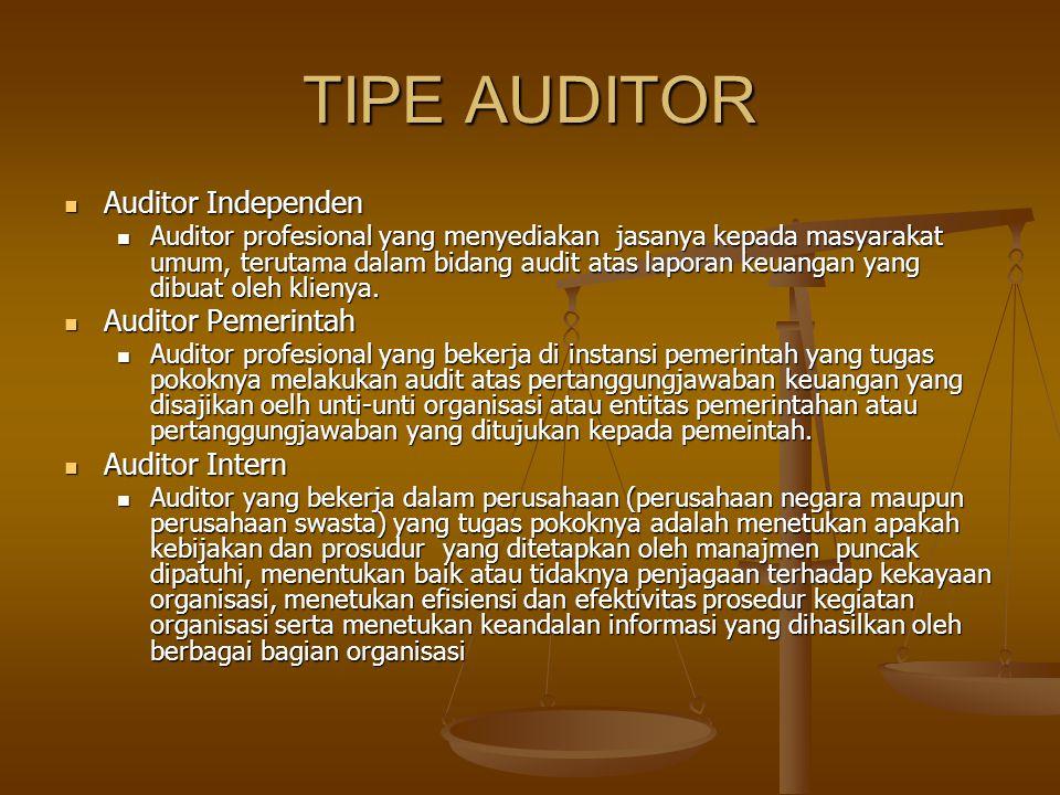 TIPE AUDITOR Auditor Independen Auditor Pemerintah Auditor Intern
