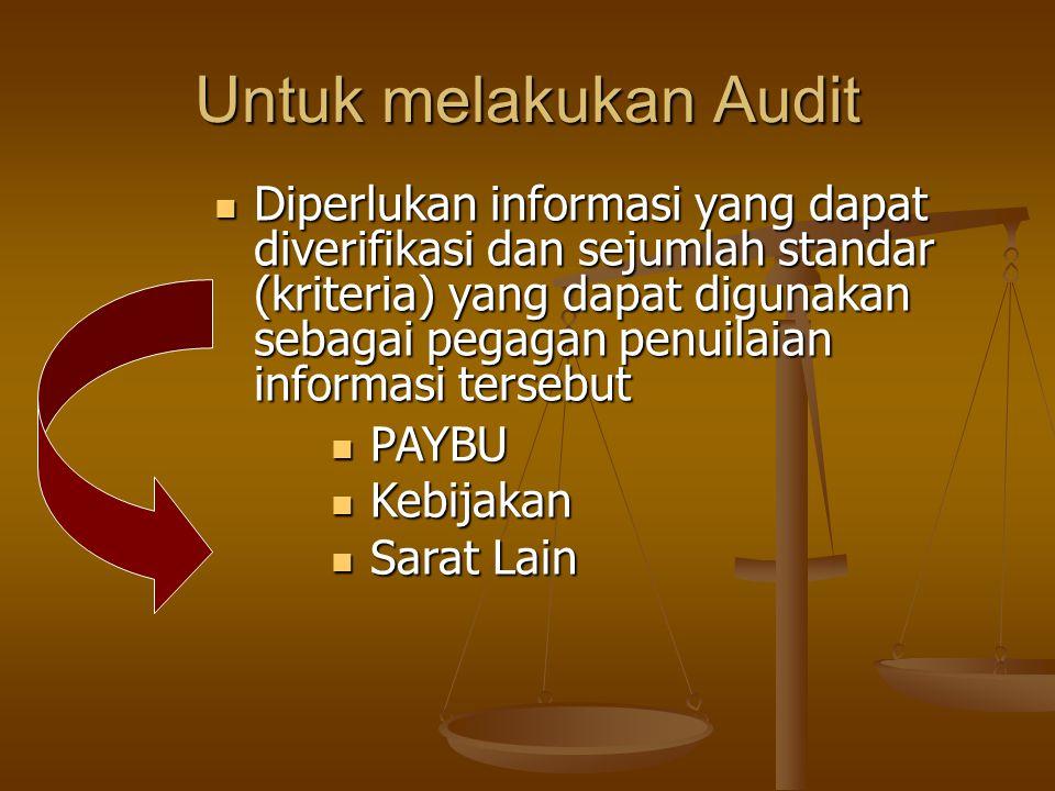 Untuk melakukan Audit