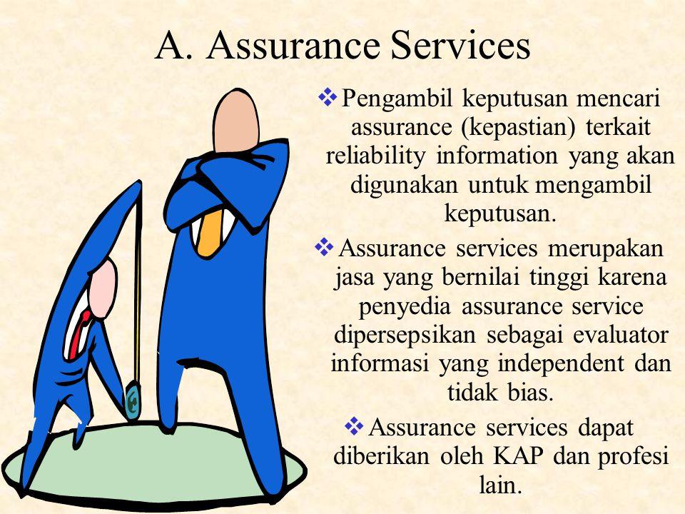 Assurance services dapat diberikan oleh KAP dan profesi lain.