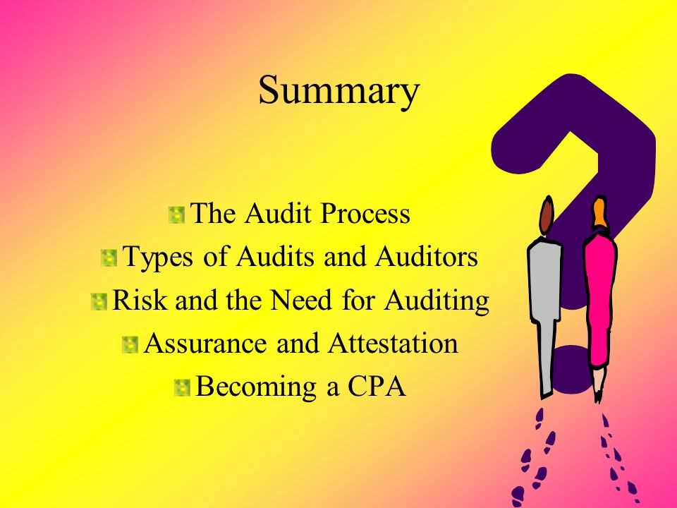 Summary The Audit Process Types of Audits and Auditors