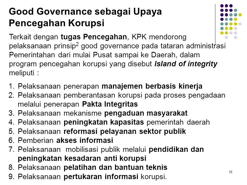 Good Governance sebagai Upaya Pencegahan Korupsi