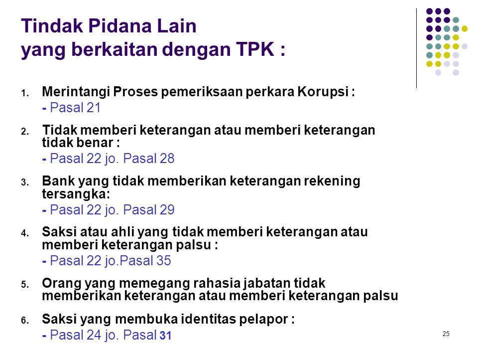 yang berkaitan dengan TPK :