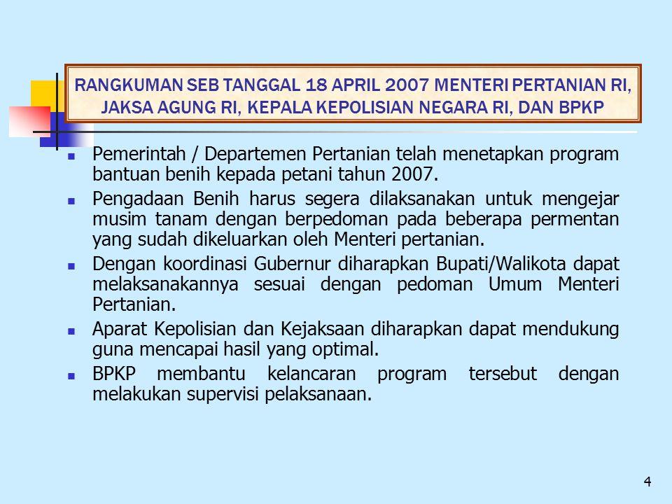 RANGKUMAN SEB TANGGAL 18 APRIL 2007 MENTERI PERTANIAN RI, JAKSA AGUNG RI, KEPALA KEPOLISIAN NEGARA RI, DAN BPKP