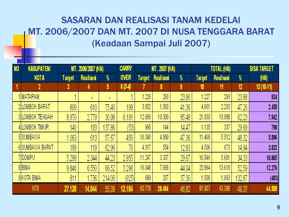 SASARAN DAN REALISASI TANAM KEDELAI MT. 2006/2007 DAN MT