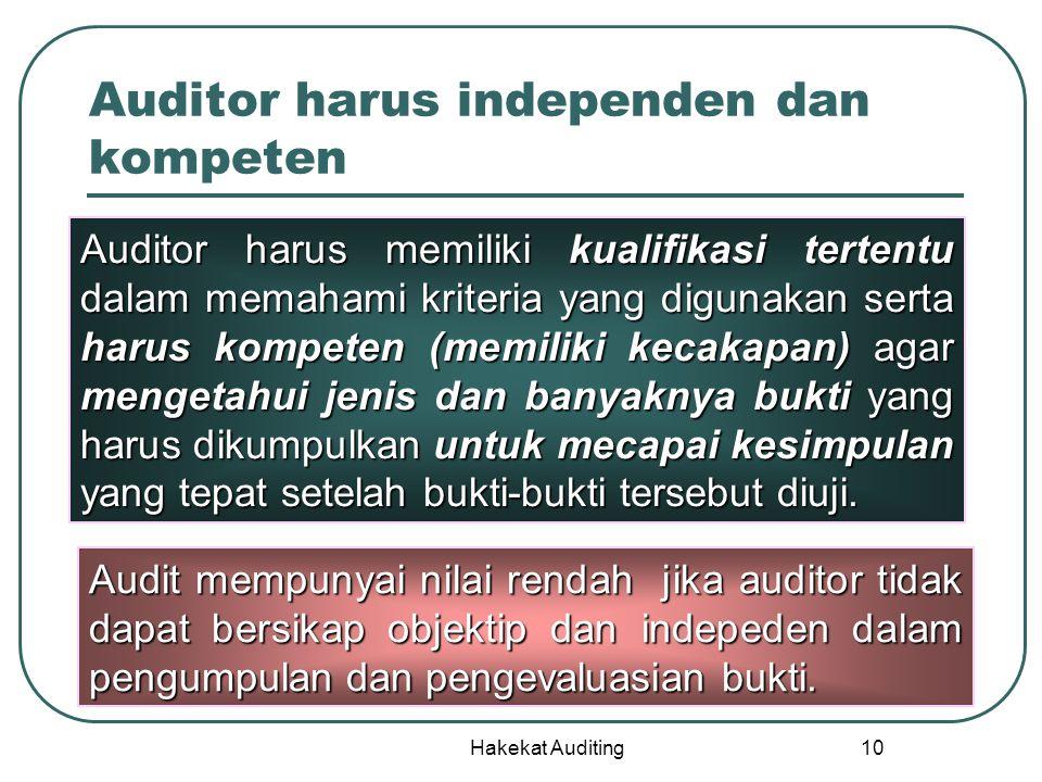 Auditor harus independen dan kompeten