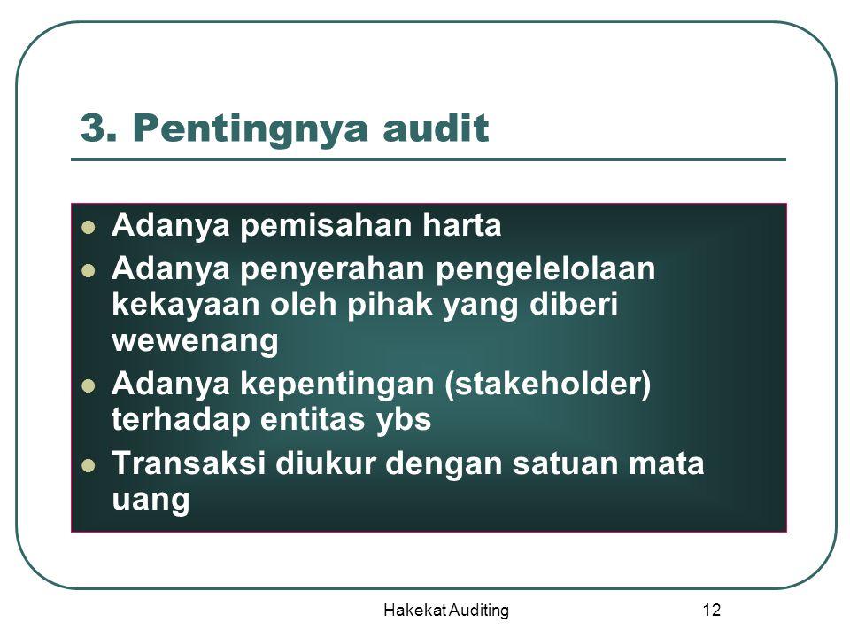 3. Pentingnya audit Adanya pemisahan harta