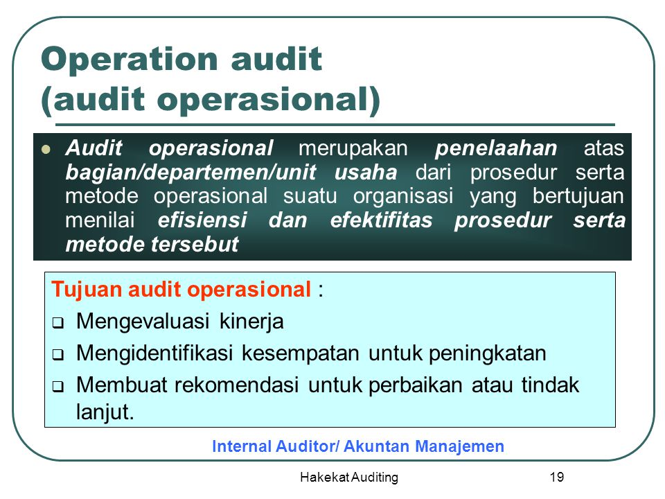 Operation audit (audit operasional)