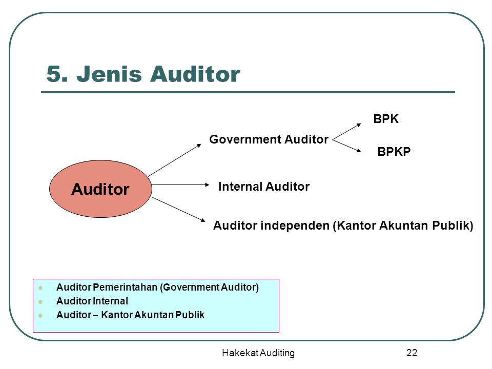 5. Jenis Auditor Auditor BPK Government Auditor BPKP Internal Auditor
