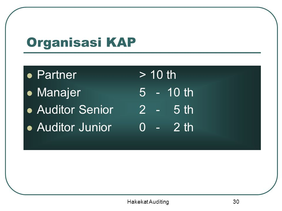 Organisasi KAP Partner > 10 th Manajer 5 - 10 th
