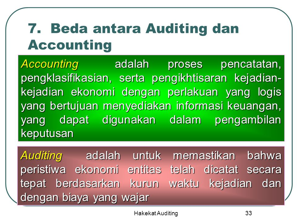 7. Beda antara Auditing dan Accounting