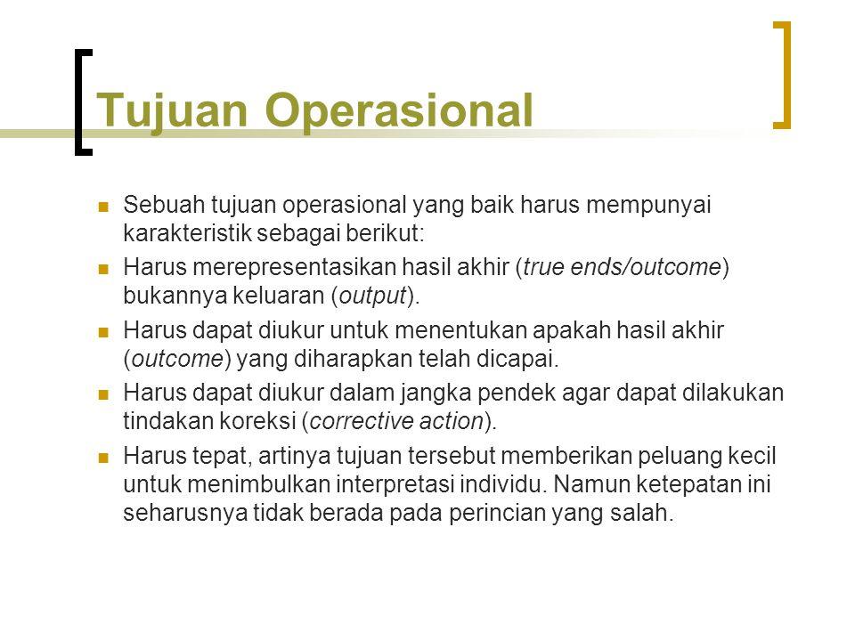 Tujuan Operasional Sebuah tujuan operasional yang baik harus mempunyai karakteristik sebagai berikut: