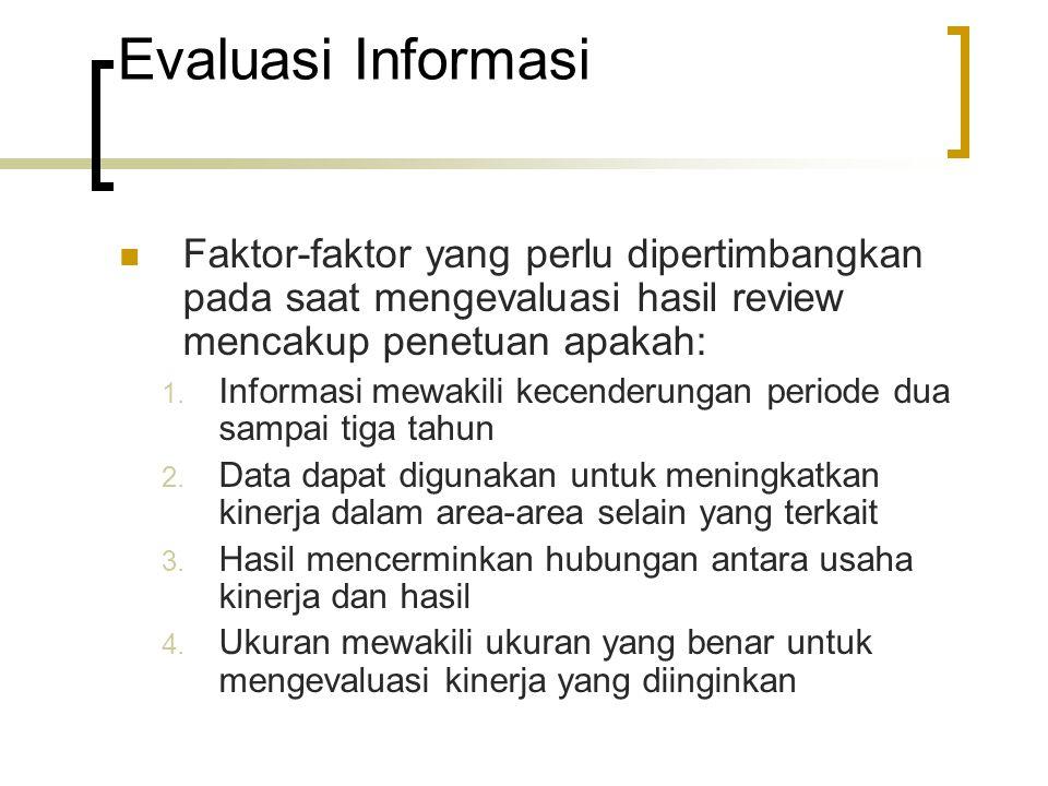 Evaluasi Informasi Faktor-faktor yang perlu dipertimbangkan pada saat mengevaluasi hasil review mencakup penetuan apakah: