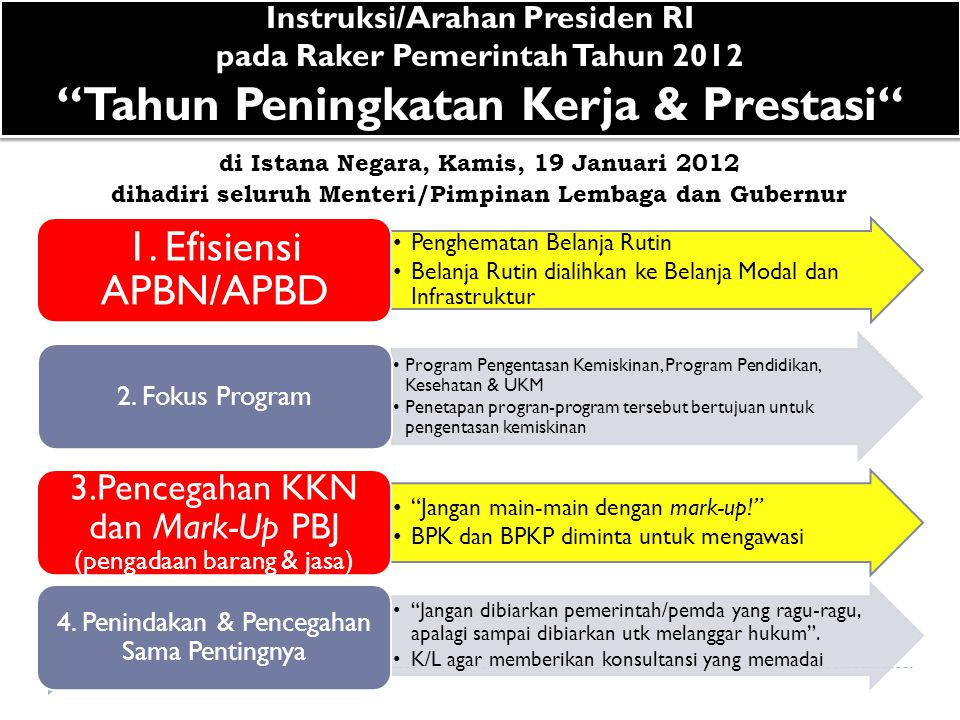 Instruksi/Arahan Presiden RI pada Raker Pemerintah Tahun 2012 Tahun Peningkatan Kerja & Prestasi