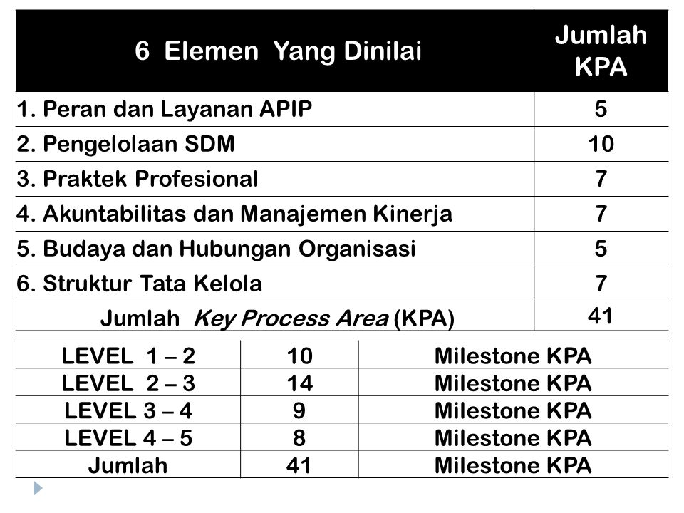 Jumlah Key Process Area (KPA)