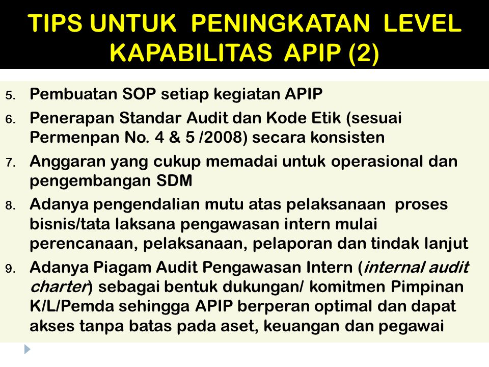 TIPS UNTUK PENINGKATAN LEVEL KAPABILITAS APIP (2)