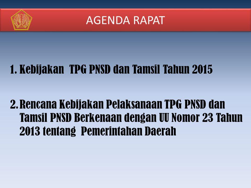 AGENDA RAPAT Kebijakan TPG PNSD dan Tamsil Tahun 2015