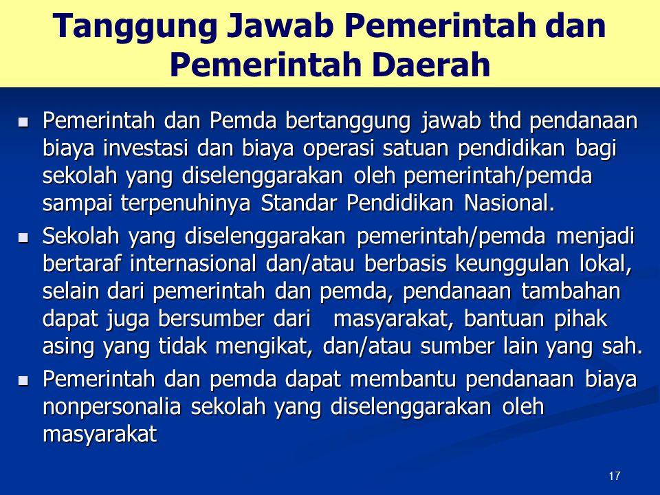 Tanggung Jawab Pemerintah dan Pemerintah Daerah