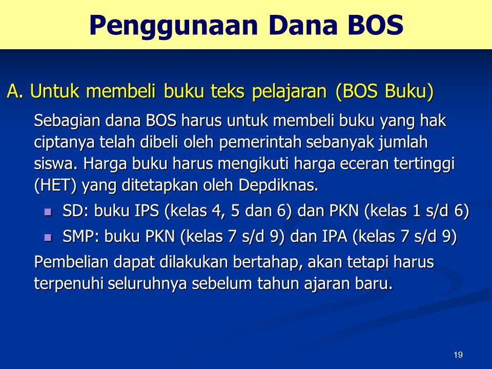 Penggunaan Dana BOS A. Untuk membeli buku teks pelajaran (BOS Buku)