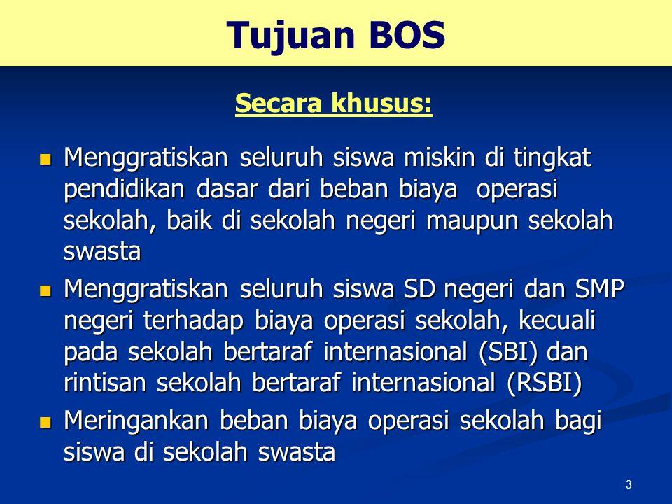 Tujuan BOS Secara khusus: