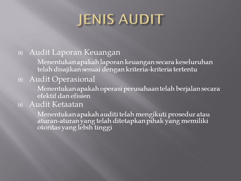 JENIS AUDIT Audit Laporan Keuangan Audit Operasional Audit Ketaatan