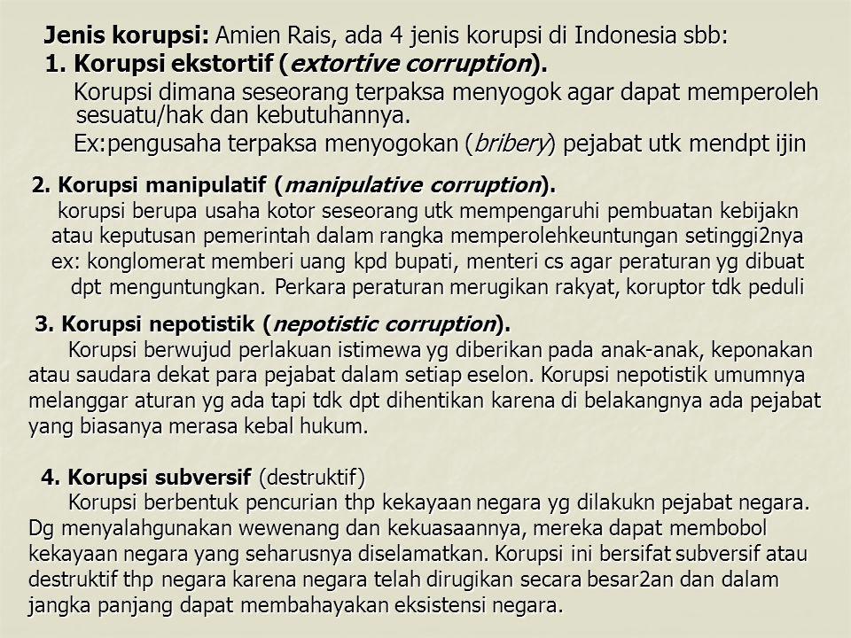 Jenis korupsi: Amien Rais, ada 4 jenis korupsi di Indonesia sbb: