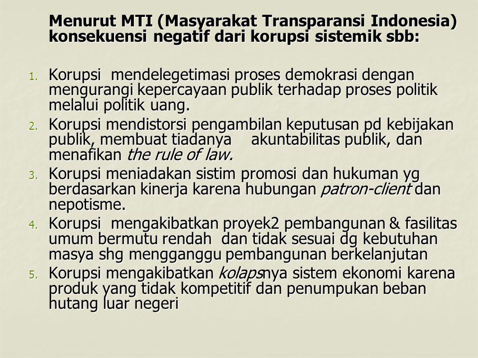 Menurut MTI (Masyarakat Transparansi Indonesia) konsekuensi negatif dari korupsi sistemik sbb: