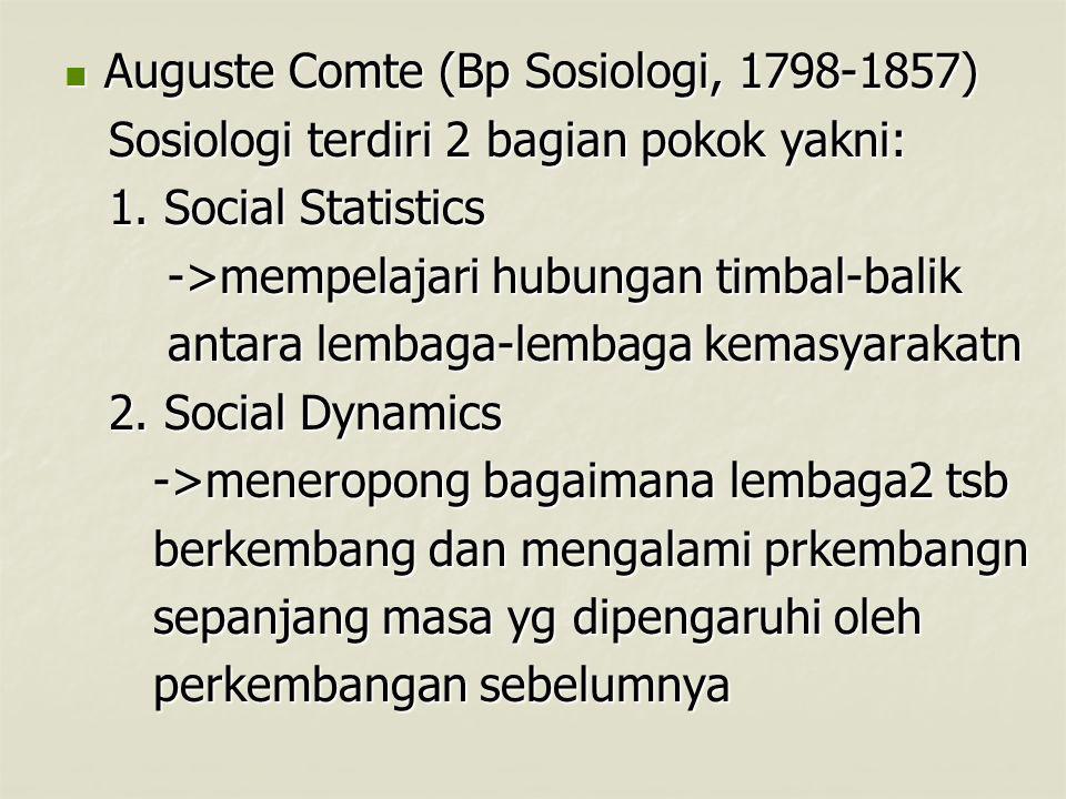 Auguste Comte (Bp Sosiologi, 1798-1857)