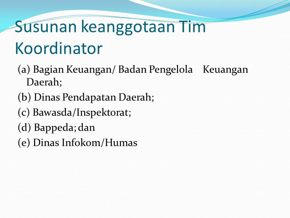 Susunan keanggotaan Tim Koordinator