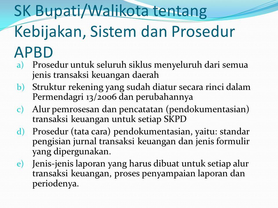 SK Bupati/Walikota tentang Kebijakan, Sistem dan Prosedur APBD