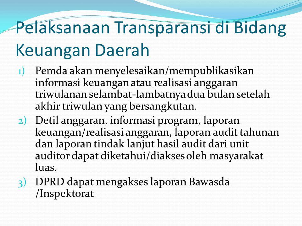 Pelaksanaan Transparansi di Bidang Keuangan Daerah