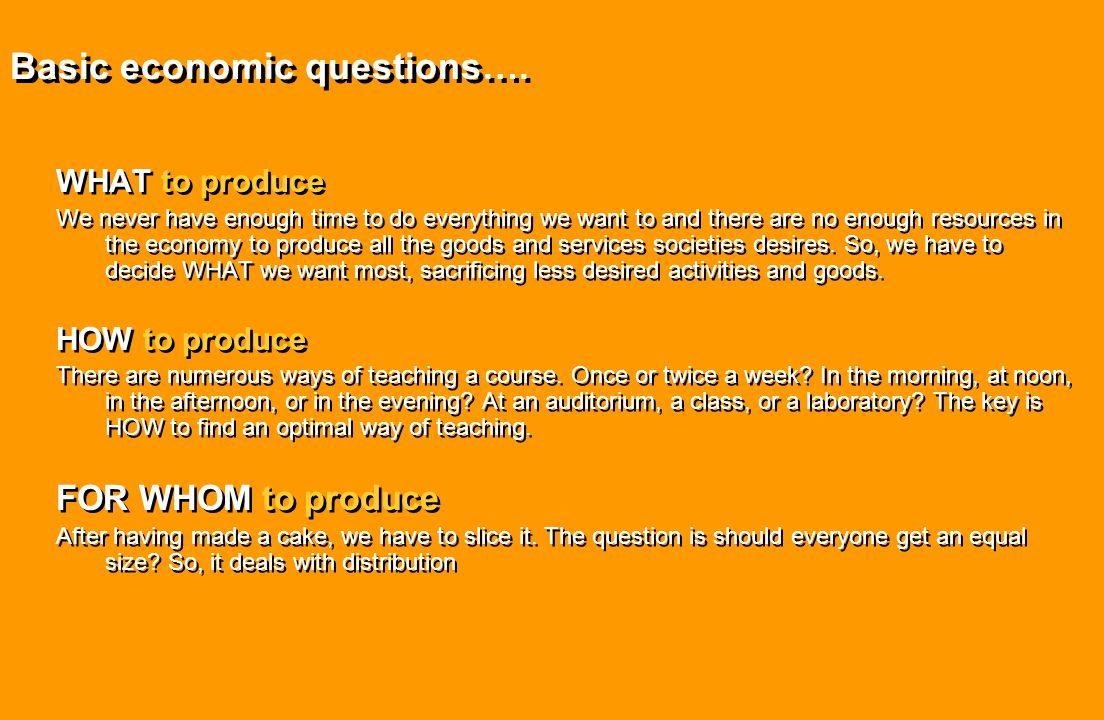 Basic economic questions….