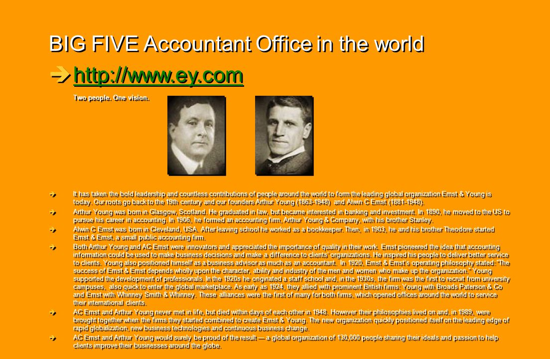 BIG FIVE Accountant Office in the world http://www.ey.com