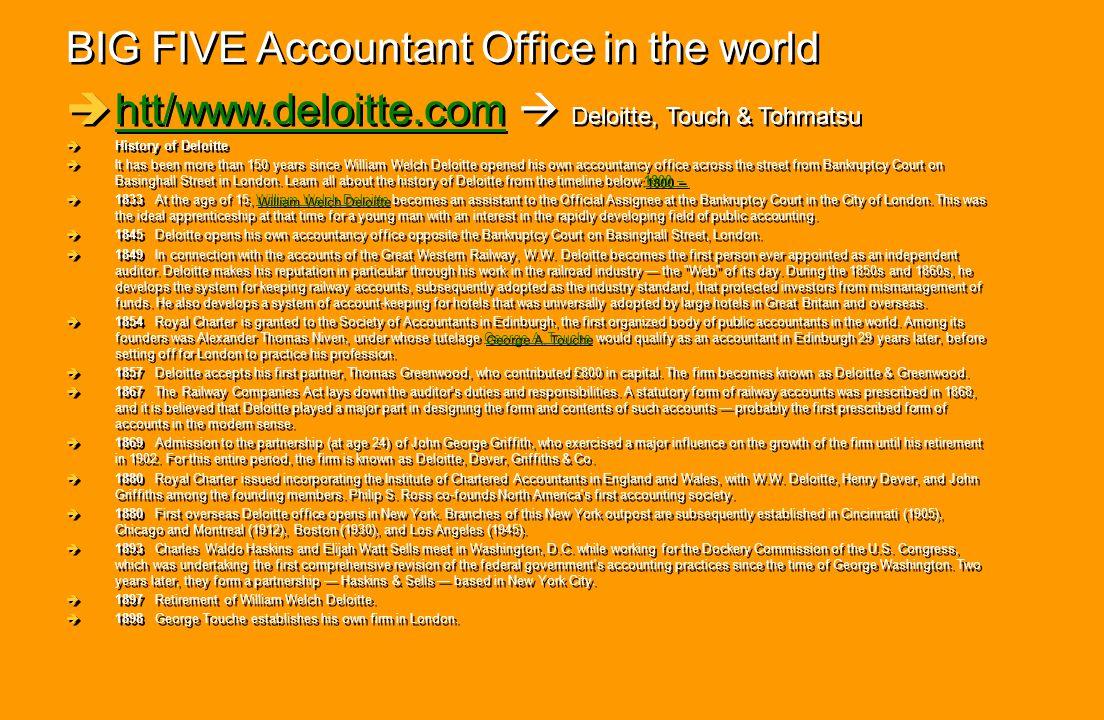 BIG FIVE Accountant Office in the world