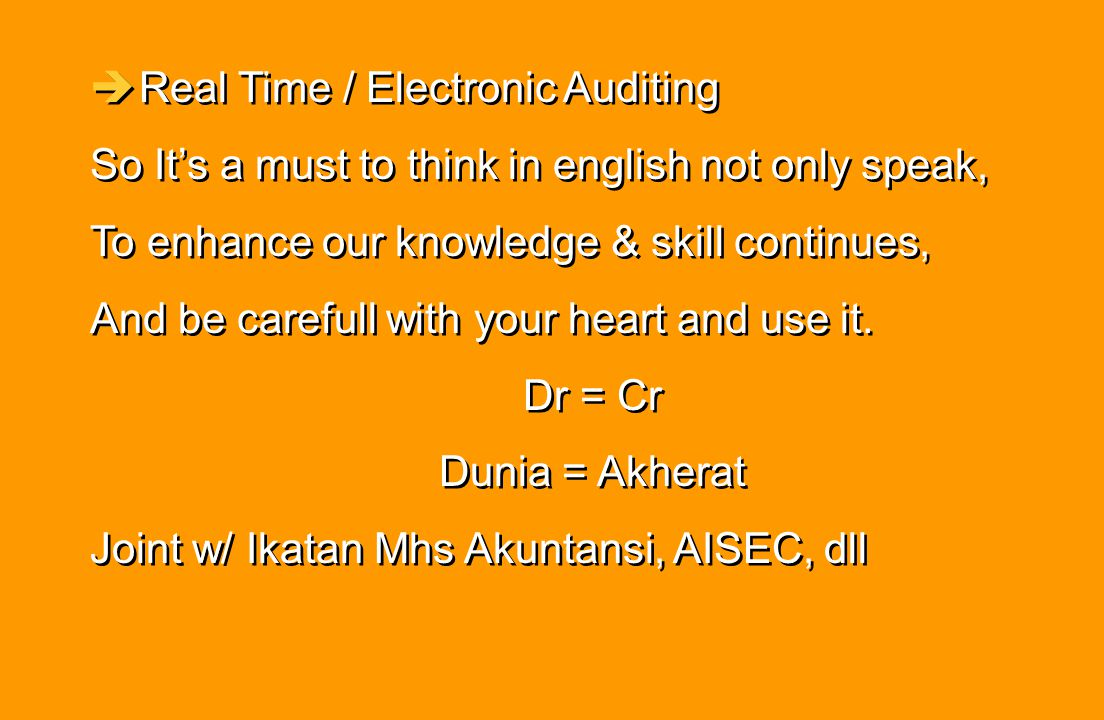 Real Time / Electronic Auditing