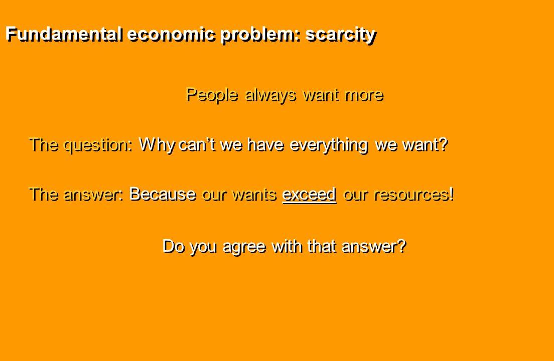 Fundamental economic problem: scarcity