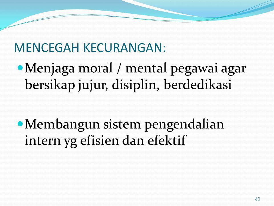 MENCEGAH KECURANGAN: Menjaga moral / mental pegawai agar bersikap jujur, disiplin, berdedikasi.