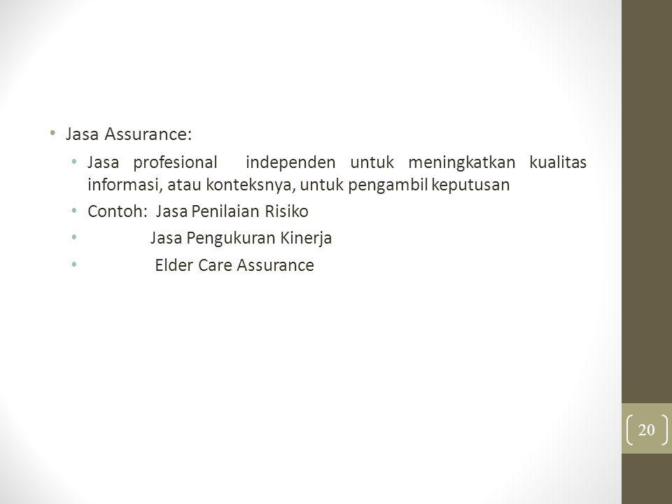 Jasa Assurance: Jasa profesional independen untuk meningkatkan kualitas informasi, atau konteksnya, untuk pengambil keputusan.