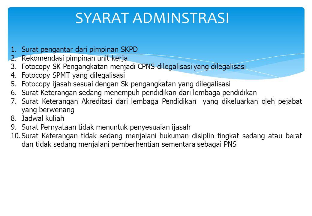 SYARAT ADMINSTRASI Surat pengantar dari pimpinan SKPD