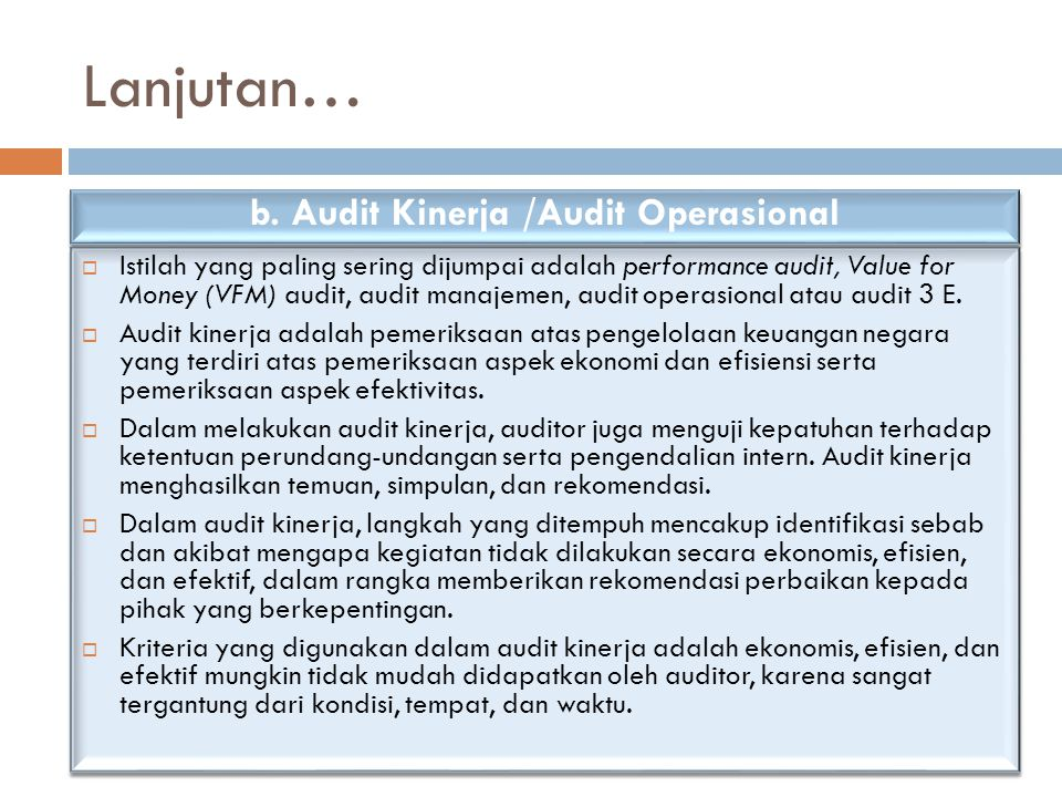 b. Audit Kinerja /Audit Operasional