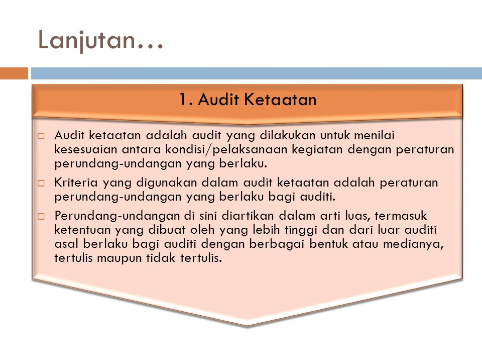Lanjutan… 1. Audit Ketaatan
