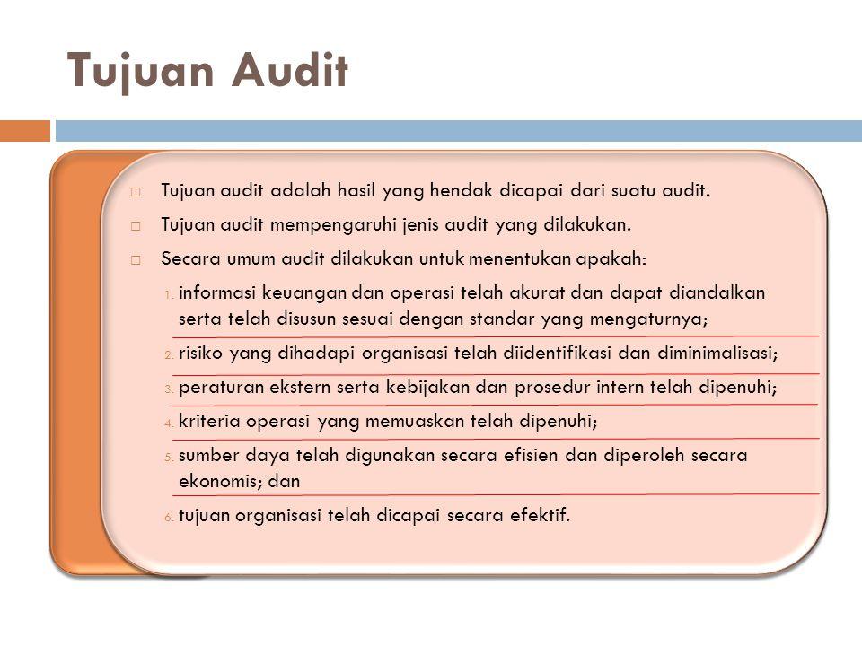 Tujuan Audit Tujuan audit adalah hasil yang hendak dicapai dari suatu audit. Tujuan audit mempengaruhi jenis audit yang dilakukan.