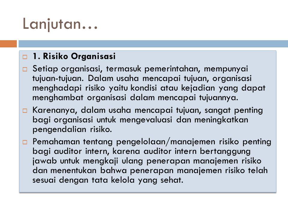 Lanjutan… 1. Risiko Organisasi