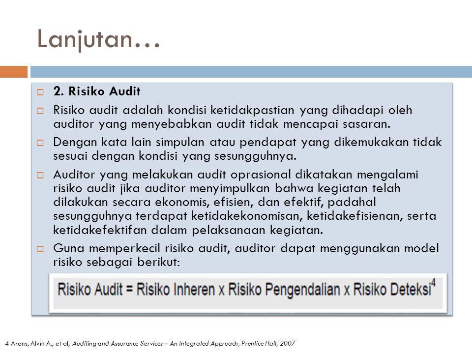 Lanjutan… 2. Risiko Audit