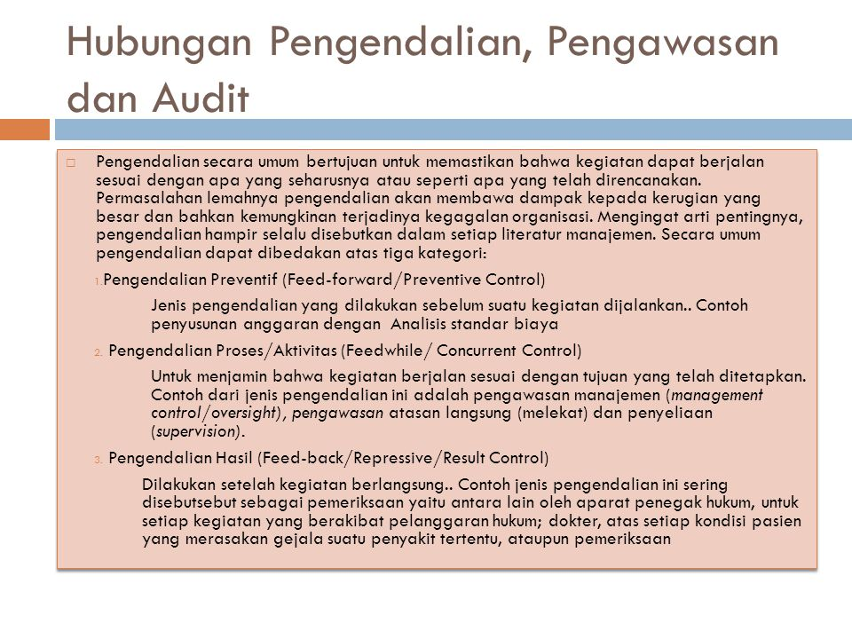 Hubungan Pengendalian, Pengawasan dan Audit