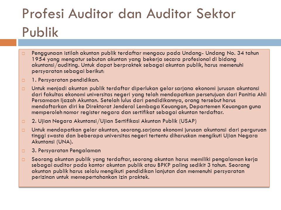 Profesi Auditor dan Auditor Sektor Publik