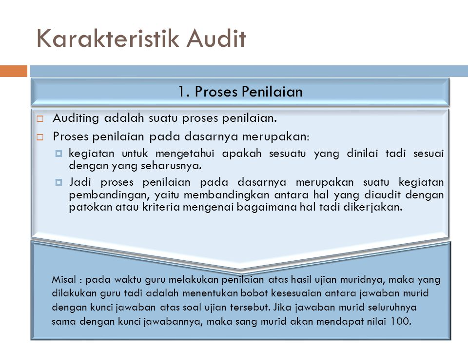 Karakteristik Audit 1. Proses Penilaian