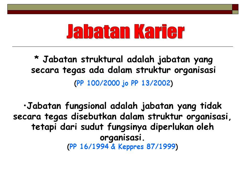 Jabatan Karier * Jabatan struktural adalah jabatan yang secara tegas ada dalam struktur organisasi.
