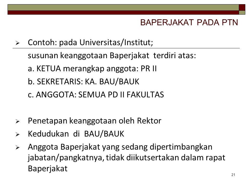 Contoh: pada Universitas/Institut;